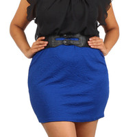 Chiffon Belt Body Con Dress - Blue - Plus Size - 1x - 2x - 3x