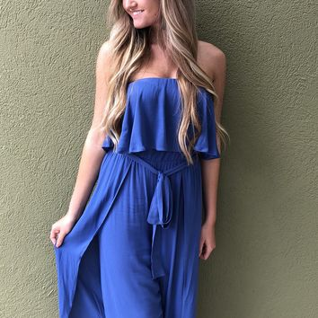 Blue Skies Ahead Jumpsuit - Blue