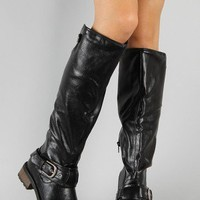 Qupid Relax-39 Buckle Riding Knee High Boot