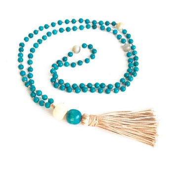 108 Mala Beads - Yoga Jewelry Mala Necklace - Boho Jewelry Tassel Necklace - Long Beaded Necklace Tassel Turquoise Stone
