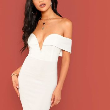 Off Shoulder Solid Bodycon Dress
