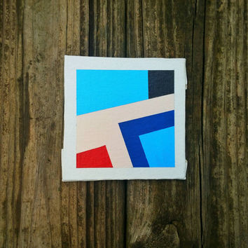 OOAK Contemporary Abstract Art Modern Original Geometric Tiny Canvas Art Minimalist Acrylic Home Decor Wall Art