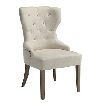 Luxurious And Comfy Button Tufted Dining Chair, Beige By Coaster