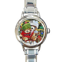 Christmas Teddy Bears on a Round Silver Italian Charm Watch.. Think Small Wrist