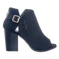 Glenda38 Perforated Holes & Side Split Cut Out Peep Toe Ankle Bootie Block Heel