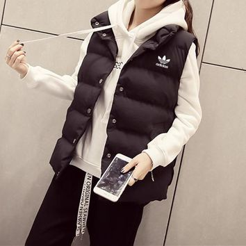 """Adidas"" Women Simple Casual Solid Color Sleeveless Cardigan Cotton-padded Clothes Vest Jacket Coat"