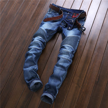 2016 Best Sell Mens Patchwork Straight Cotton Biker Denim Jeans Regular Fit Hiphop Style Ripped Ruffled Designers Jean Pants Hot