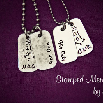 Her One, His Only Mini Dog Tag Set - Hand Stamped Couples Jewelry - Necklace Set with Initials and Anniversary - Gift for Couple, Newlyweds