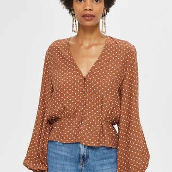 Polka Spot Button Blouse | Topshop