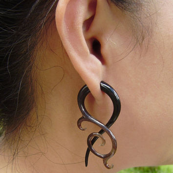 Fake gauge Split Gauge Earrings Organic Black Horn Fake Gauge Earrings Fancy Tribal by Anela