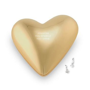 Gold Modern Heart Jewelry Box - Three Lines of Text Etching (Pack of 1)