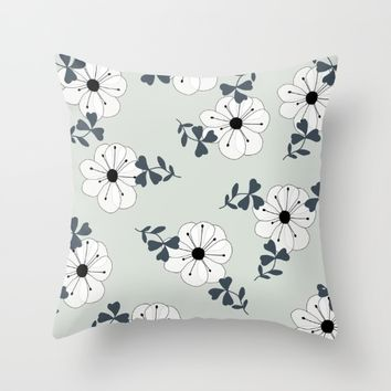 Delicate Flowers Pattern Throw Pillow by oursunnycdays