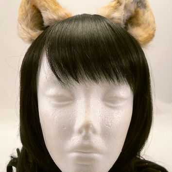 SALE Small Blonde Gold Brown Gray White Fox Cat Ears Inumimi Nekomimi Kitsune Cosplay Furry Goth Fantasy LARP