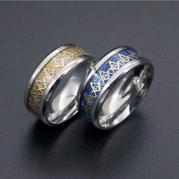 Titanium Steel Ring Freemasonry Masonic Couple Rings Blue Yellow Color Lovers' Ring for Men Women Vintage Religious Jewelry