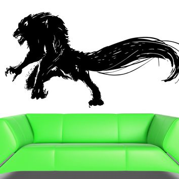 Wall Decal Wolf Werewolf Monster Beast Horror Evil Grin Vinyl Decal Unique Gift (ed383)