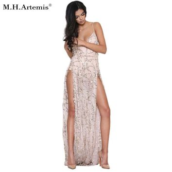 2017 New Style Sexy Sequined Maxi Slit Side Long Dress Bohemian Cut out Backless Party Dress Boho two piece Vestidos de fiesta