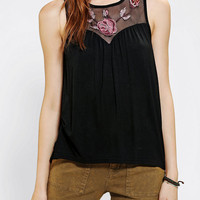 Pins And Needles Embroidered Zip-Back Tank Top
