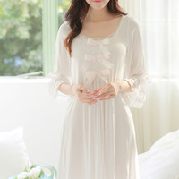 Free Shipping Princess Nightdress Women's  White Long Pyjamas Thin Material Nightgown Autumn Sleepwear Ladies negligee