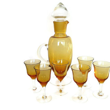 Mid Century Decanter Set, Amber, Yellow Glass, Wine, Cordial, Sherry Glasses