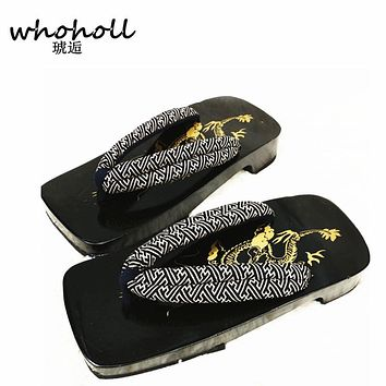 WHOHOLL Men's flip-flops summer sandals platform Japanese wooden geta clgos shoes male clogs slippers
