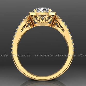 Yellow Gold Halo Engagement Ring Filigree Ring Wedding Ring