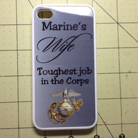Rubber Marine Corps Marine's Wife Toughest Job in the Corps Iphone case free shipping
