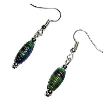 Navy & Green Rope Design Two Tone Acrylic Beaded Artisan Crafted Drop Earrings