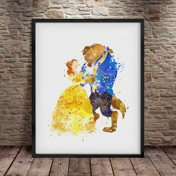 Disney Princess, Belle, Beauty and the Beast, Watercolor Painting, Disney, Watercolor Art Print Poster, Watercolor Art, Nursery Decor -a15