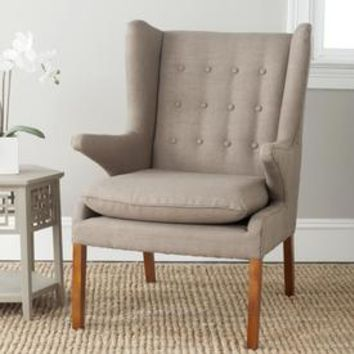 Shop Safavieh Gomer Midcentury Olive/Natural Oak Wingback Chair at Lowes.com