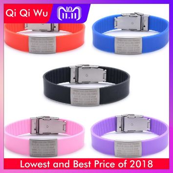 Custom Children ID Bracelet Child Engraved Identification Bracelets Baby SOS Wrist Band Kids Boys ID Safety Silicone Wristbands