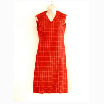MOD SIXTIES Red Linen Check Sleeveless Summer Dress Hand Tailored