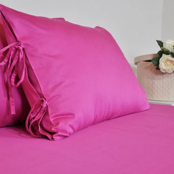 Custom Sheet Set For Full Queen King, Fitted and Flat Sheet with Pillowcases, Silky Soft Cotton Sateen Bed Sheets, Fuchsia & 18 Plain Color