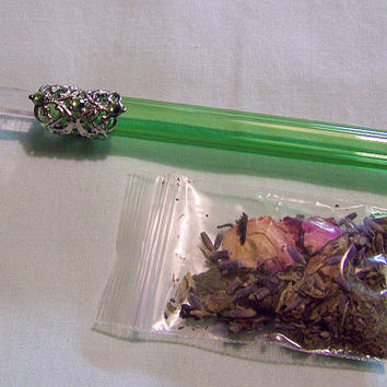 Emerald Glass Herbal Wand by mymysticgems on Etsy