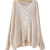 Beige Round Neck Jumper With Crocheted Patch