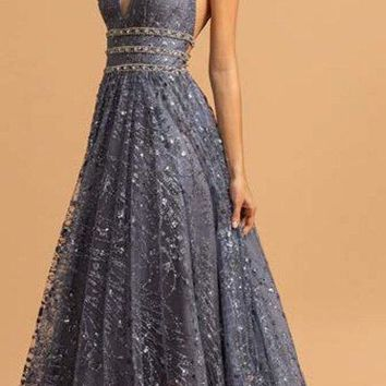 Sleeveless A-Line Charcoal Prom Gown V Neckline Beaded Waist