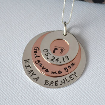 Hand-Stamped Personalized New Mom Necklace- Stacked Multi-Metal Mommy Necklace
