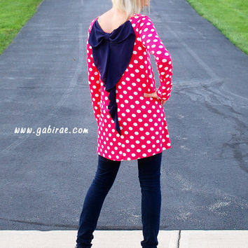 Ain't It Pretty Pink Polka Dot Tunic Dress with Big Bow