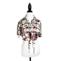 90's Floral Grunge Dolman Sleeve Tie Front Button Up Crop Top Shirt