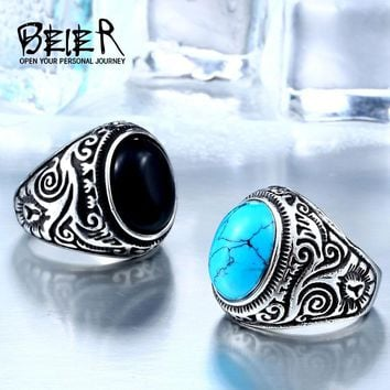 BEIER 2017 Natural Oval Opal Green Stone Ring Stainless Steel Vintage Nobel Palace Product  For Woman Man Europe BR8-186