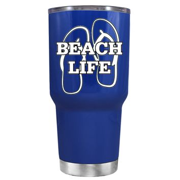 The Beach Life Sandals on Blue 30 oz Tumbler Cup