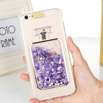 sFor iPhone 7 Case iPhone 6 Fashion Bling Liquid Quicksand Perfume Bottle Phone Case for iPhone 8 7 Plus 6S 6 Plus Dynamic Cover