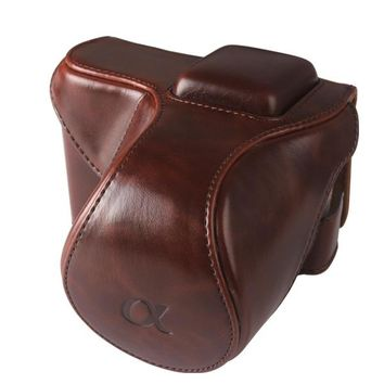 SUPON Leather Camera Case Pouch bag wth Neck Strap for SONY NEX5 NEX-5C NEX-5N 18-55mm lens Deep Brown Color