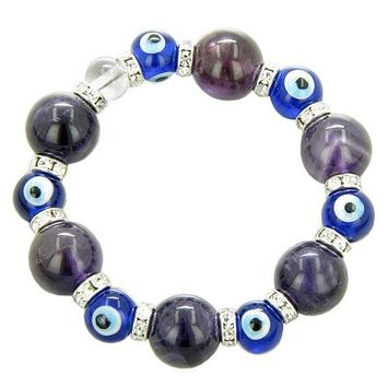 Swarovski Evil Eye Amethyst Crystal Quartz Blue Eyes Bracelet