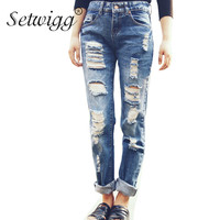 SETWIGG Womens Ripped Cotton Denim Jeans Blue Washed Holes Boyfriend Style Female Casual Jeans Pants SG25