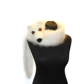 Arctic fox / Polar fox / Hand knit fox Scarf / Fuzzy Soft Scarf / white / fox scarf / scarf