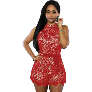 Red Lace Nude Stylish Romper LAVELIQ