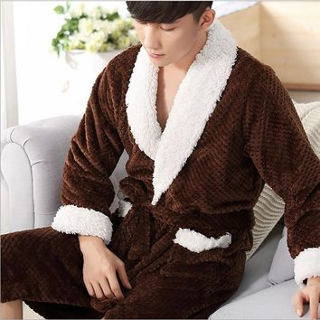 Incredible Men's Solid Color Pajamas Full Sleeve Shawl Collar Mens Kimono Flannel Polyester Sleep Lounge Robes Japanese Robe Men