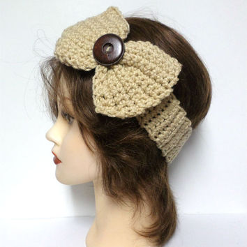 Women's beige crochet large bow large brown button accent headband, ear warmer, beige crochet bow button headband, gift