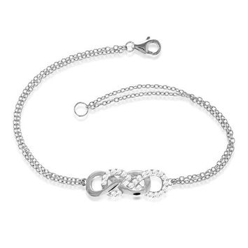 "Sterling Silver and Synthetic Stone 7"" Interlocking Infinity Figure 8 Double-Strand Bracelet"