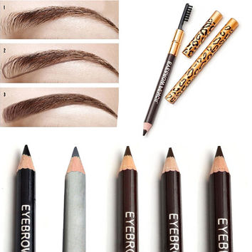 Hot New Women Waterproof Eyebrow Pencil With Brush Make Up Leopard maquiagem 5 Colors Shadow To Eyebrow